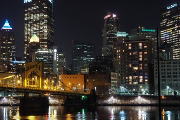 Pittsburgh, Cityscape, Night, reflections