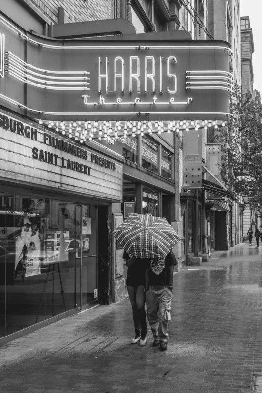 Pittsburgh, umbrella, street photography, Harris theater, black and white, urban