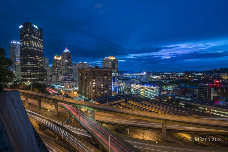 Pittsburgh, light trails, cityscape, sunset, blue hour, Nikon, urban landscape