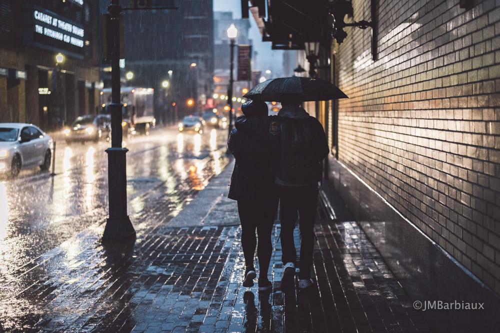 Pittsburgh, rain, umbrella, couple, love, cultural district