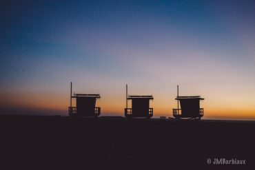 venice beach, los angles, santa monica, sunset, silhouette