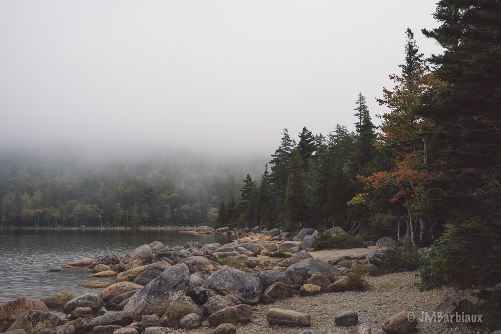 acadia National park, maine, fog, hiking, jordan pond, travel, weather