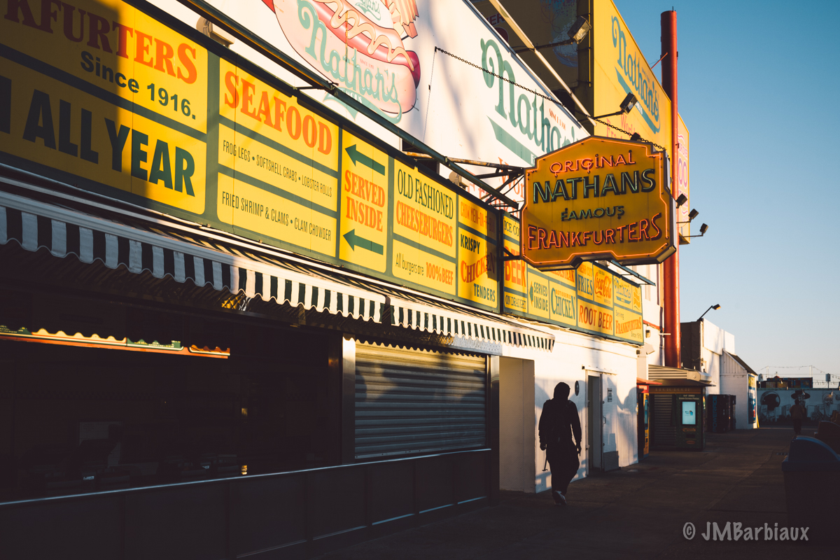 Nathans Hot dogs, brooklyn, coney island, street photography, leica