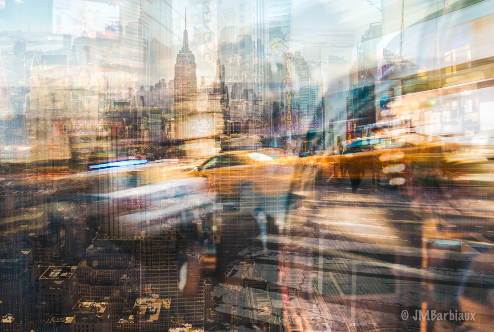 Fractal Cityscape, New York City, Fine Art, Traffic, Motion Blur, ICM,