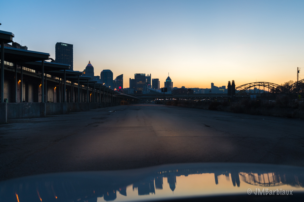 pittsburgh, street photography, reflection, car, leica, sunset