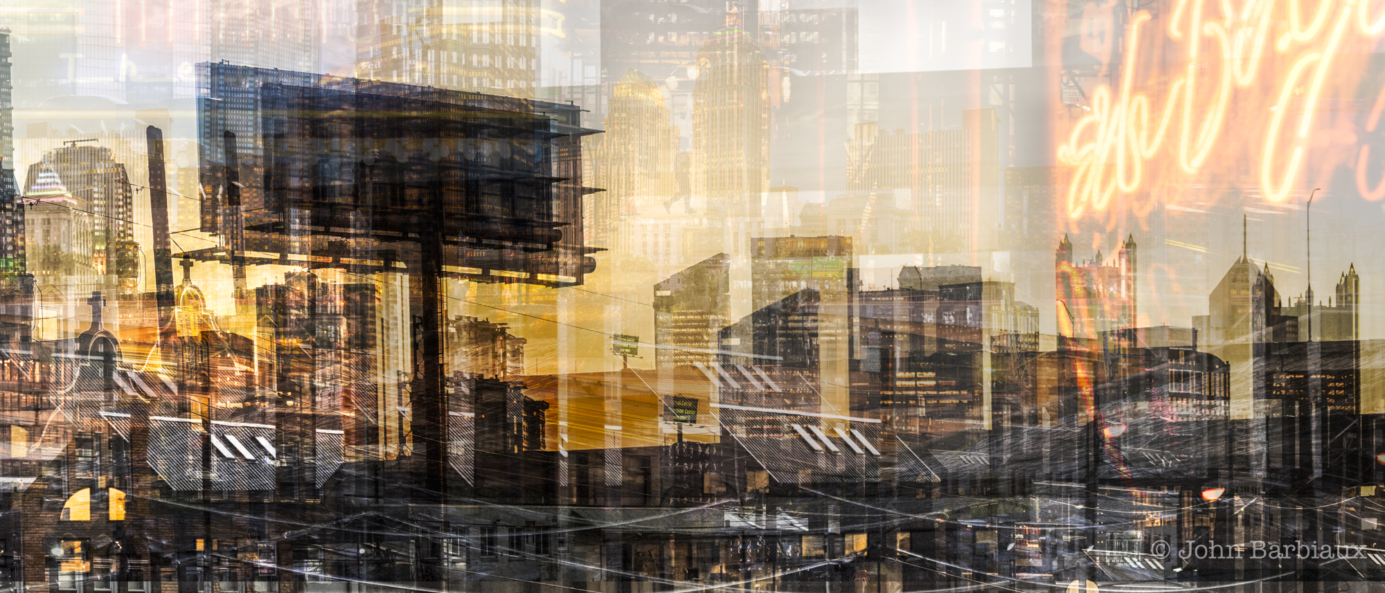 abstract, fractal cityscape, fine art, photography, pittsburgh, golden hour