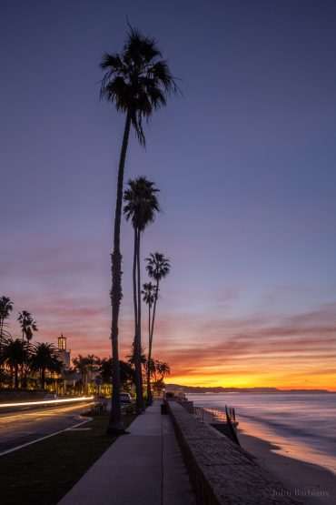 Santa Barbara, Butterfly Beach, shore, ocean, sunrise, palm trees, light trails, Leica, Leica m10-p, montecito