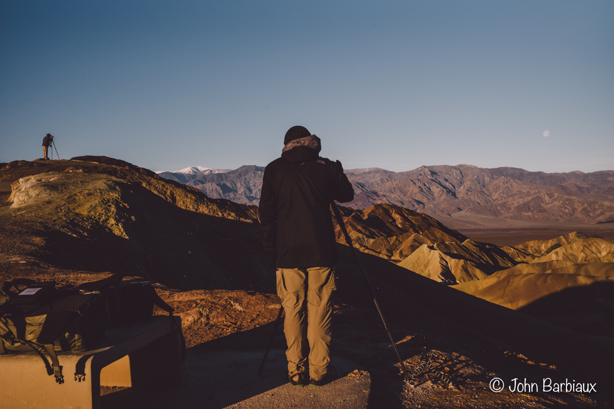 Street photography, Death Valley National Park, Zabriskie Point, sunrise, golden hour