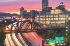 Pittsburgh, light trails, Nikon d850, urban landscapes, cityscape, sunset