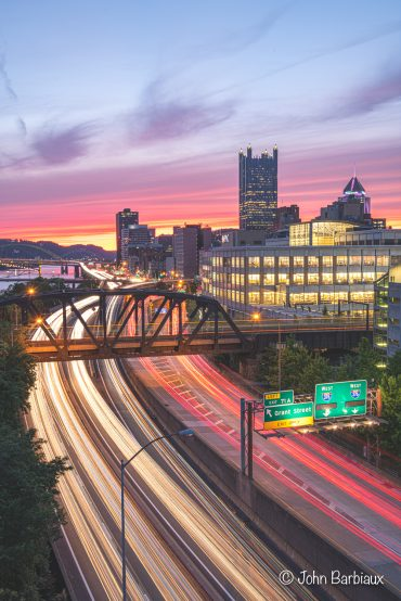 Pittsburgh, light trails, Nikon d850, urban landscapes, cityscape, sunset