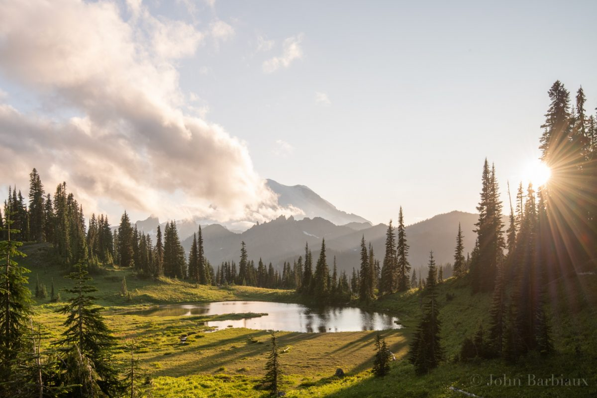 Tipsoo Lake, sunburst, Mt. Rainier National Park, Travel, Meadow