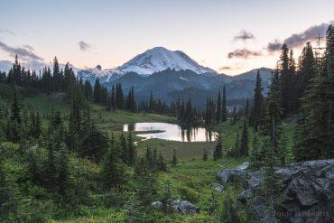 Tipsoo Lake, Mount Rainier, sunset, Mt. Rainier National Park, Mountain