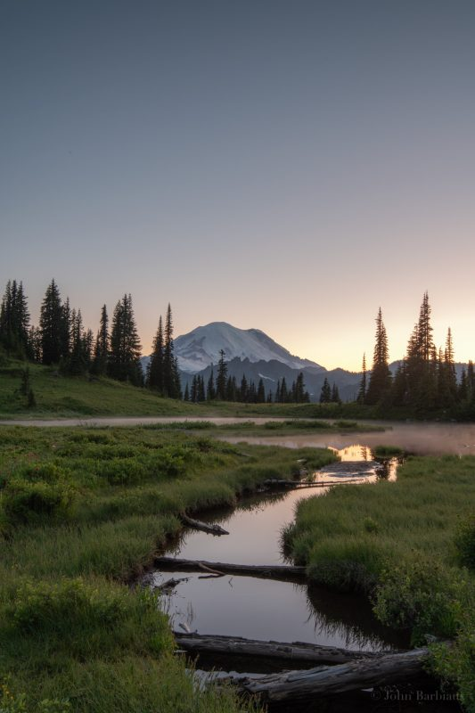 Tipsoo Lake, Mt. Rainier, National Park, Mt. Rainier National Park, sunset\