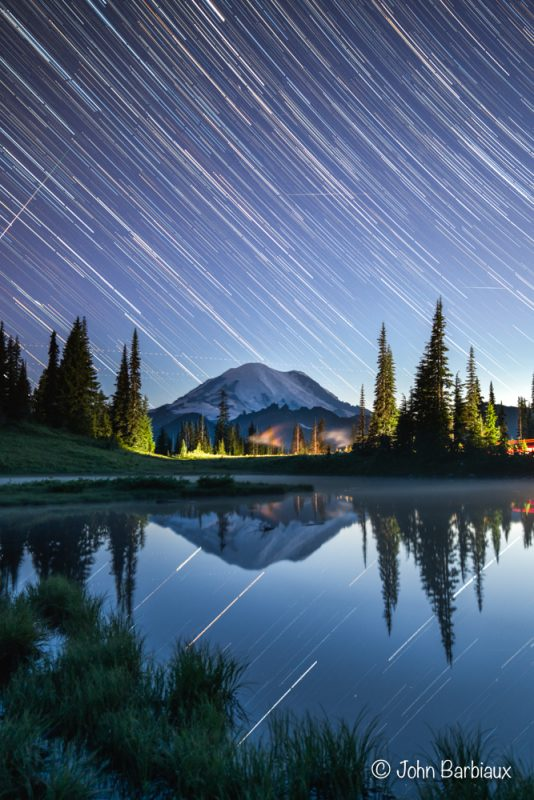 Tipsoo Lake, landscape astrophotography, startrails, mt. rainier, mt. rainier national park, night photography